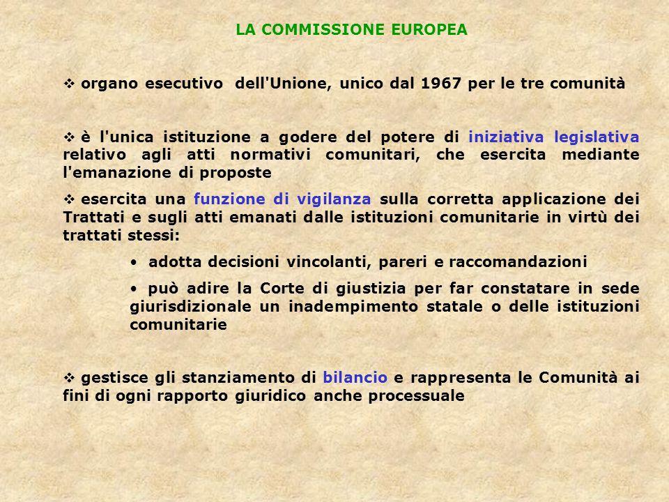 LA COMMISSIONE EUROPEA organo esecutivo dell'Unione, unico dal 1967 per le tre comunità è l'unica istituzione a godere del potere di iniziativa legisl