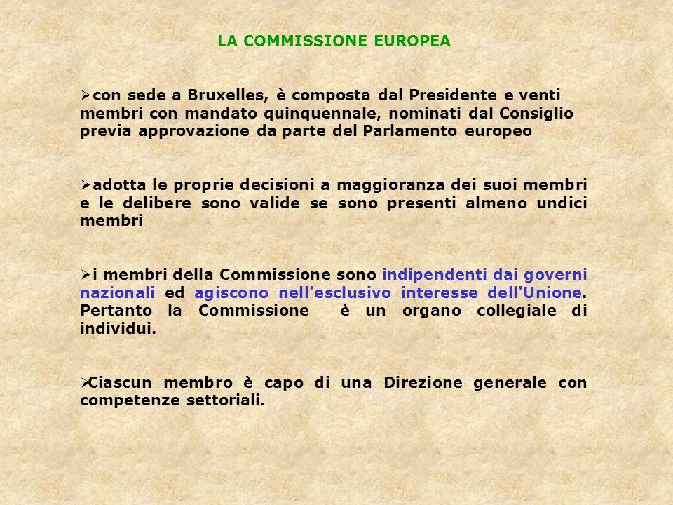 LA COMMISSIONE EUROPEA con sede a Bruxelles, è composta dal Presidente e venti membri con mandato quinquennale, nominati dal Consiglio previa approvaz