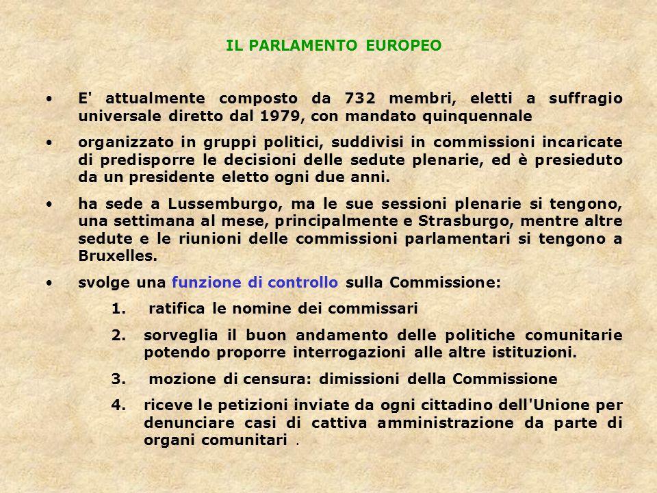 IL PARLAMENTO EUROPEO E' attualmente composto da 732 membri, eletti a suffragio universale diretto dal 1979, con mandato quinquennale organizzato in g