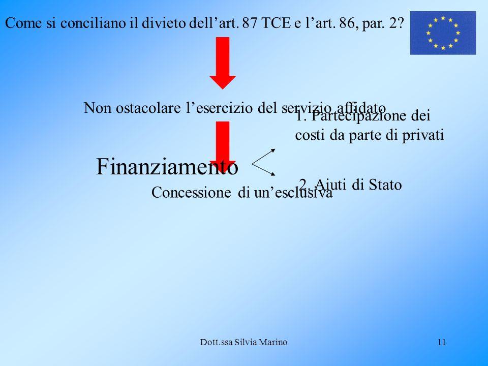 Dott.ssa Silvia Marino11 Come si conciliano il divieto dellart. 87 TCE e lart. 86, par. 2? Non ostacolare lesercizio del servizio affidato Concessione