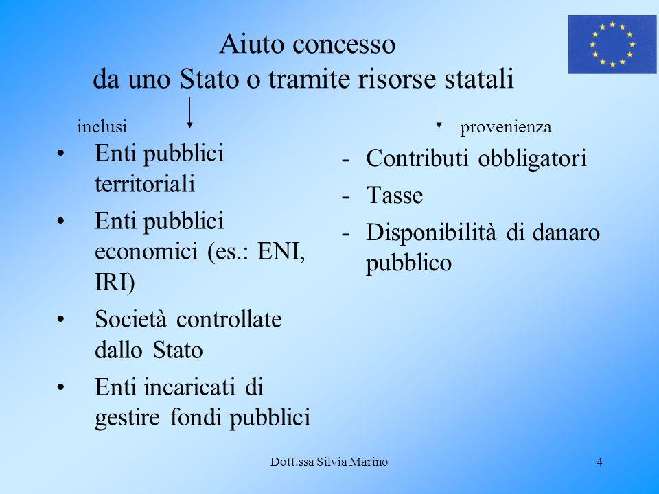 Dott.ssa Silvia Marino4 Aiuto concesso da uno Stato o tramite risorse statali Enti pubblici territoriali Enti pubblici economici (es.: ENI, IRI) Socie