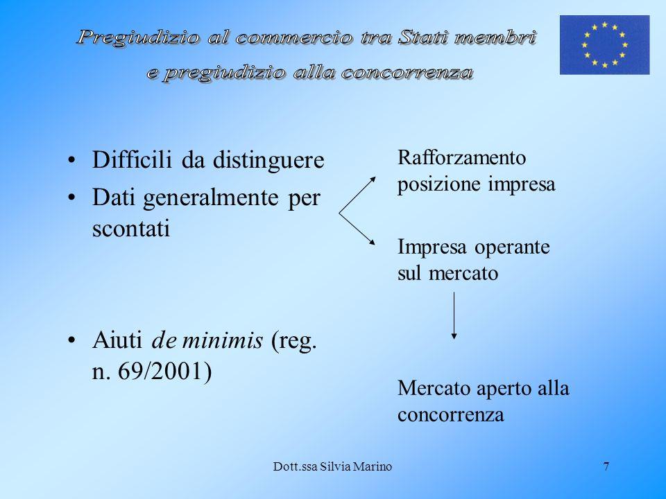 Dott.ssa Silvia Marino7 Difficili da distinguere Dati generalmente per scontati Aiuti de minimis (reg. n. 69/2001) Rafforzamento posizione impresa Imp
