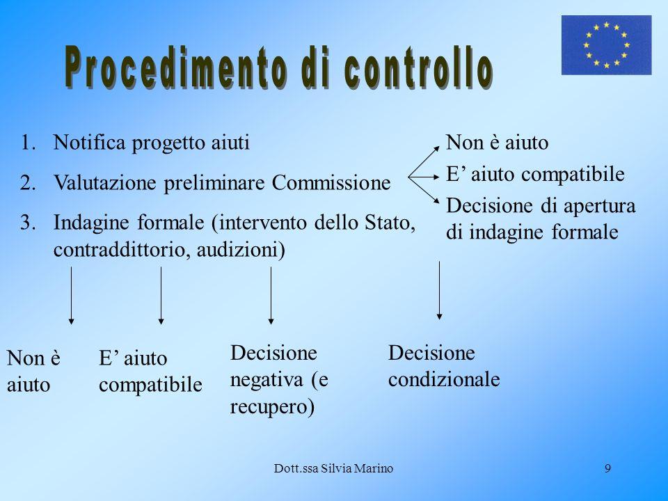 Dott.ssa Silvia Marino9 1.Notifica progetto aiuti 2.Valutazione preliminare Commissione 3.Indagine formale (intervento dello Stato, contraddittorio, a