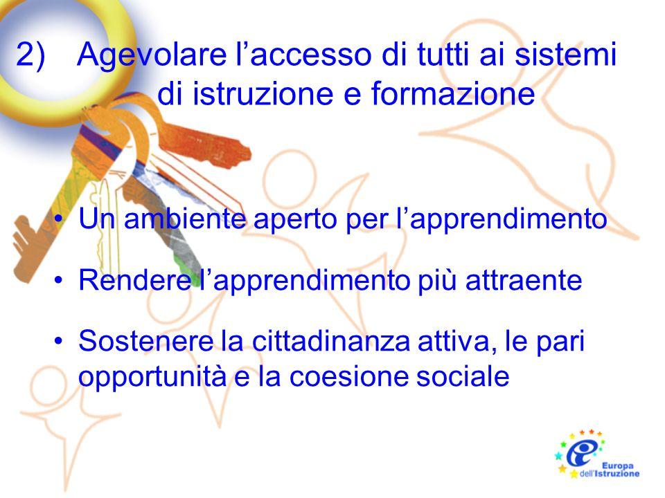 2)Agevolare laccesso di tutti ai sistemi di istruzione e formazione Un ambiente aperto per lapprendimento Rendere lapprendimento più attraente Sostene