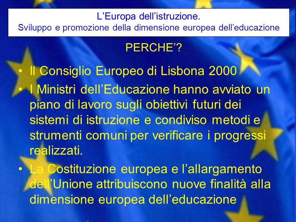 LEuropa dellistruzione. Sviluppo e promozione della dimensione europea delleducazione Il Consiglio Europeo di Lisbona 2000 I Ministri dellEducazione h