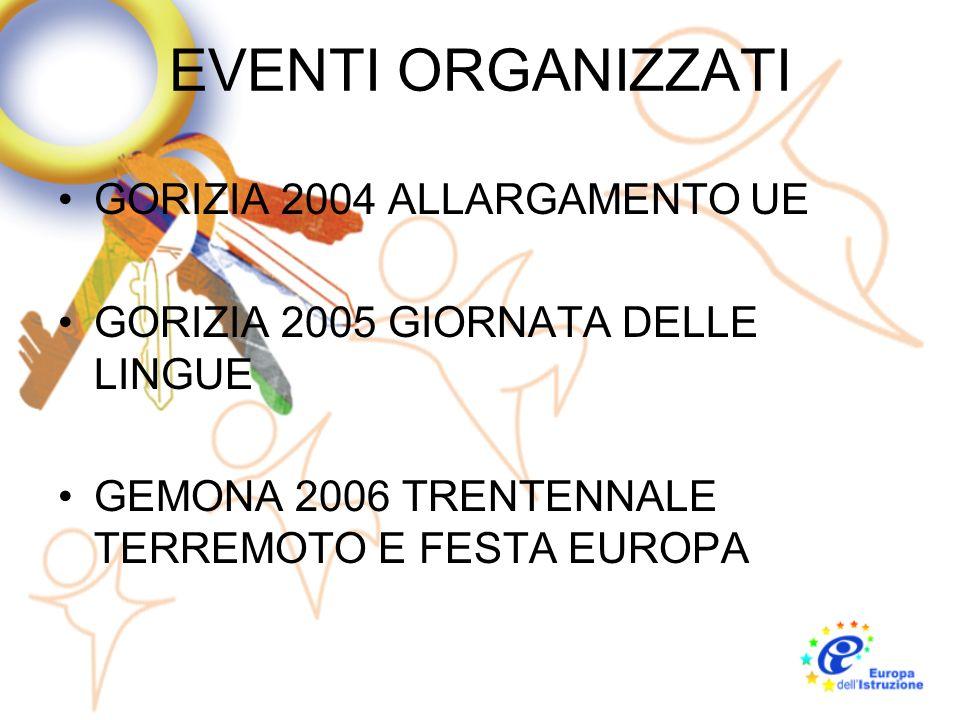 EVENTI ORGANIZZATI GORIZIA 2004 ALLARGAMENTO UE GORIZIA 2005 GIORNATA DELLE LINGUE GEMONA 2006 TRENTENNALE TERREMOTO E FESTA EUROPA