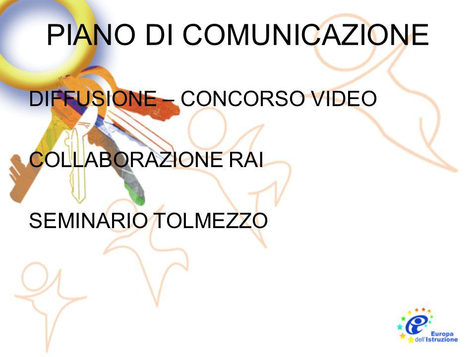 PIANO DI COMUNICAZIONE DIFFUSIONE – CONCORSO VIDEO COLLABORAZIONE RAI SEMINARIO TOLMEZZO