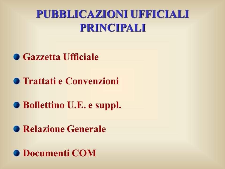 PUBBLICAZIONI UFFICIALI PRINCIPALI Gazzetta Ufficiale Trattati e Convenzioni Bollettino U.E.