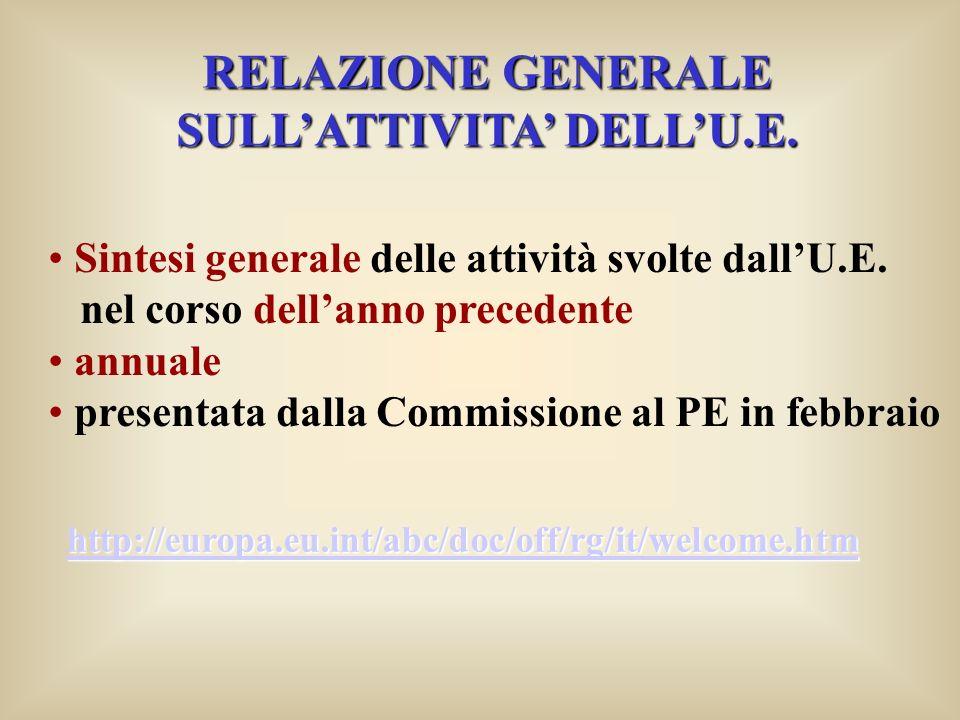 RELAZIONE GENERALE SULLATTIVITA DELLU.E. Sintesi generale delle attività svolte dallU.E.