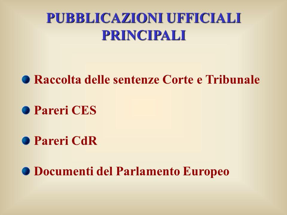 PUBBLICAZIONI UFFICIALI PRINCIPALI Raccolta delle sentenze Corte e Tribunale Pareri CES Pareri CdR Documenti del Parlamento Europeo