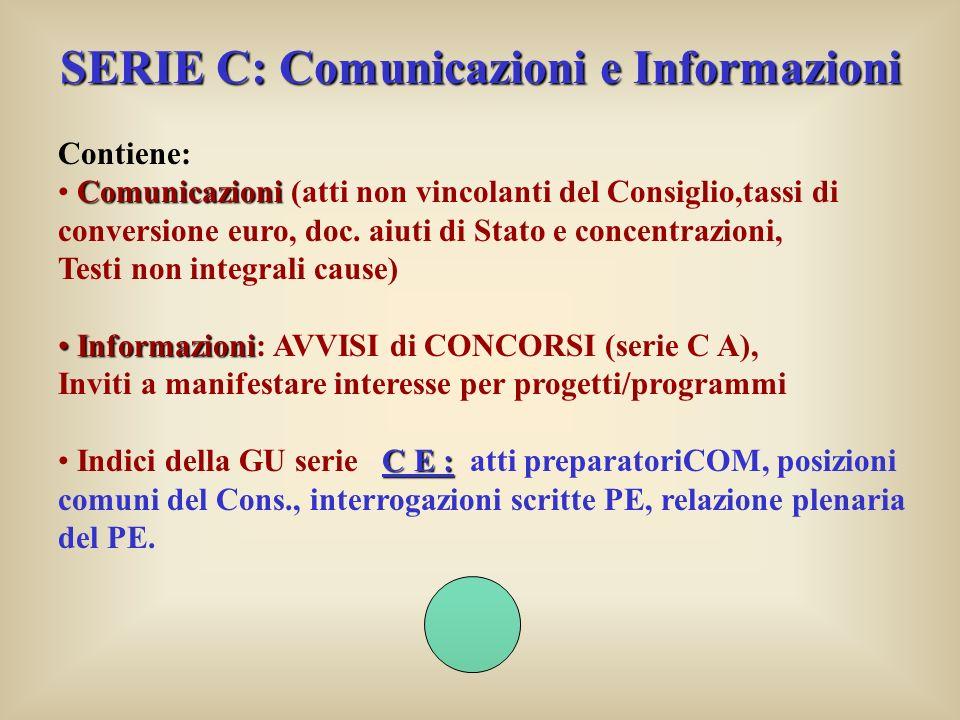SERIE C: Comunicazioni e Informazioni Contiene: Comunicazioni Comunicazioni (atti non vincolanti del Consiglio,tassi di conversione euro, doc.