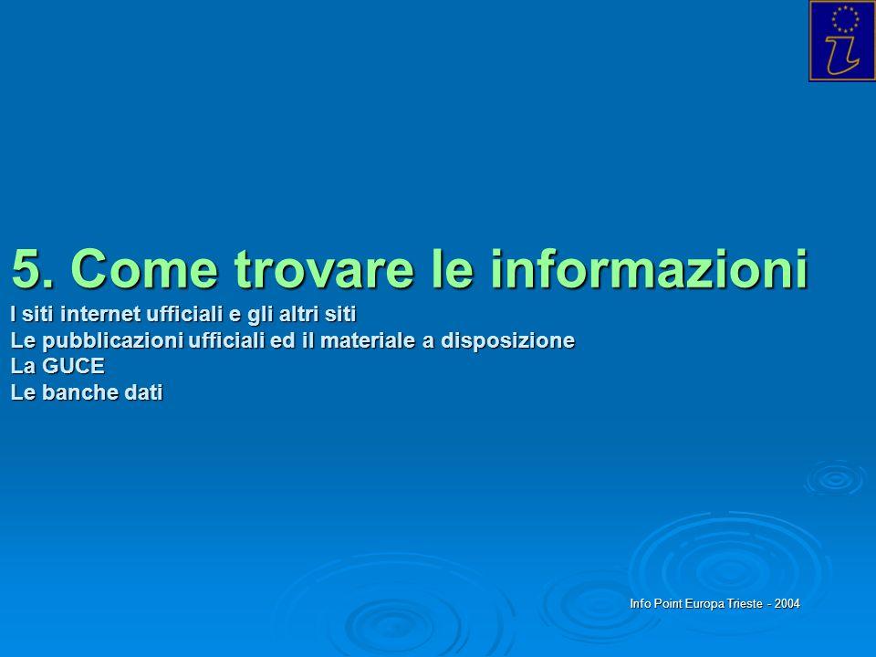 Info Point Europa Trieste - 2004 5. Come trovare le informazioni I siti internet ufficiali e gli altri siti Le pubblicazioni ufficiali ed il materiale