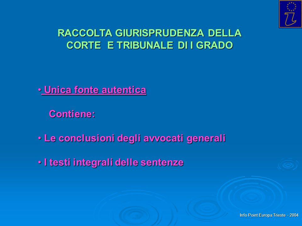 Info Point Europa Trieste - 2004 RACCOLTA GIURISPRUDENZA DELLA CORTE E TRIBUNALE DI I GRADO Unica fonte autentica Unica fonte autentica Contiene: Cont