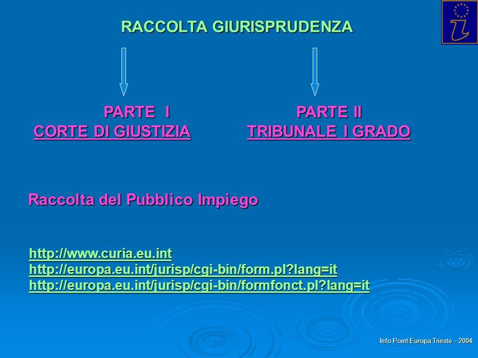 Info Point Europa Trieste - 2004 RACCOLTA GIURISPRUDENZA PARTE I CORTE DI GIUSTIZIA CORTE DI GIUSTIZIA PARTE II TRIBUNALE I GRADO Raccolta del Pubblico Impiego http://www.curia.eu.int http://europa.eu.int/jurisp/cgi-bin/form.pl lang=it http://europa.eu.int/jurisp/cgi-bin/formfonct.pl lang=it