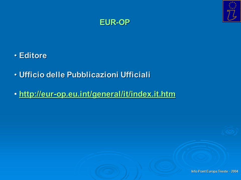 Info Point Europa Trieste - 2004 EUR-OP Editore Editore Ufficio delle Pubblicazioni Ufficiali Ufficio delle Pubblicazioni Ufficiali http://eur-op.eu.i