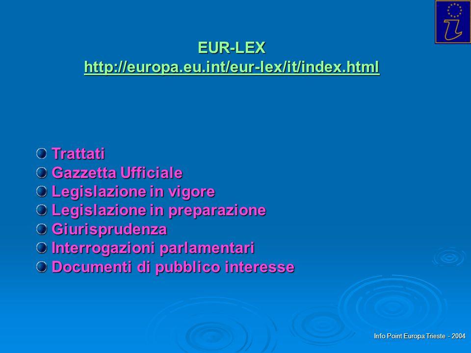 Info Point Europa Trieste - 2004 Trattati Gazzetta Ufficiale Gazzetta Ufficiale Legislazione in vigore Legislazione in vigore Legislazione in preparaz