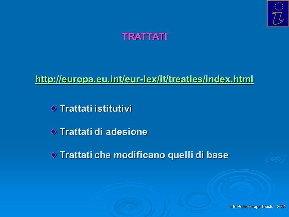 Info Point Europa Trieste - 2004 TRATTATI http://europa.eu.int/eur-lex/it/treaties/index.html Trattati istitutivi Trattati istitutivi Trattati di adesione Trattati di adesione Trattati che modificano quelli di base Trattati che modificano quelli di base
