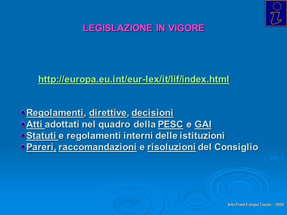 Info Point Europa Trieste - 2004 LEGISLAZIONE IN VIGORE http://europa.eu.int/eur-lex/it/lif/index.html Regolamenti, direttive, decisioni Atti adottati