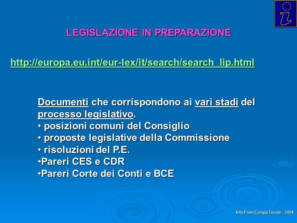 Info Point Europa Trieste - 2004 LEGISLAZIONE IN PREPARAZIONE http://europa.eu.int/eur-lex/it/search/search_lip.html Documenti che corrispondono ai va
