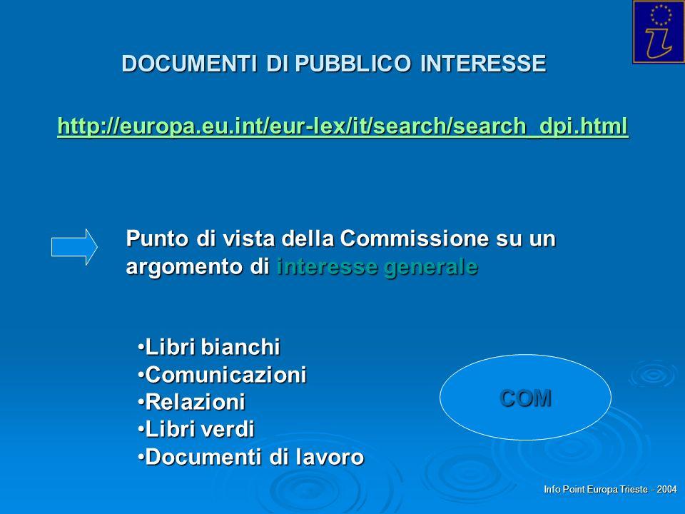 Info Point Europa Trieste - 2004 DOCUMENTI DI PUBBLICO INTERESSE http://europa.eu.int/eur-lex/it/search/search_dpi.html Punto di vista della Commissio