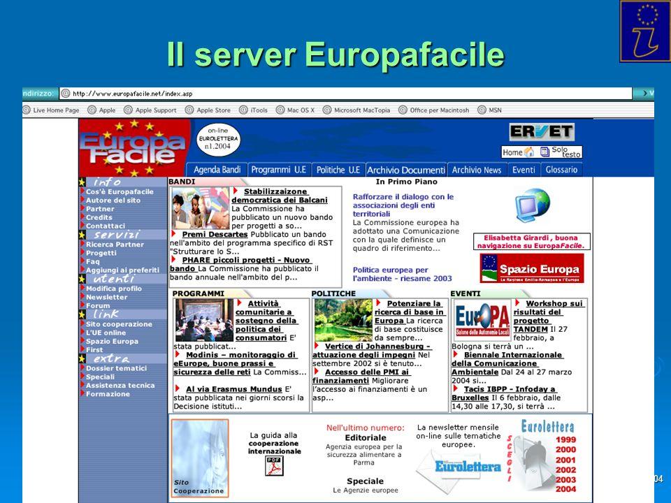 Info Point Europa Trieste - 2004 Il server Europafacile