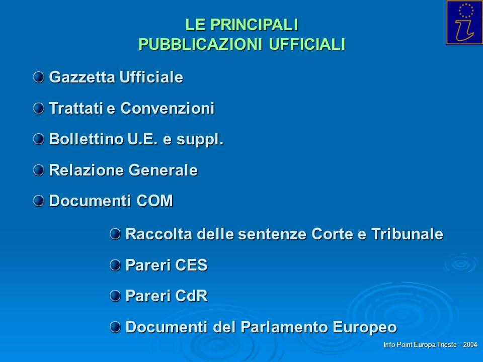 Info Point Europa Trieste - 2004 LE PRINCIPALI PUBBLICAZIONI UFFICIALI Gazzetta Ufficiale Gazzetta Ufficiale Trattati e Convenzioni Trattati e Convenzioni Bollettino U.E.