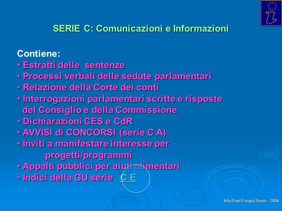 Info Point Europa Trieste - 2004 SERIE C: Comunicazioni e Informazioni Contiene: Estratti delle sentenze Estratti delle sentenze Processi verbali dell