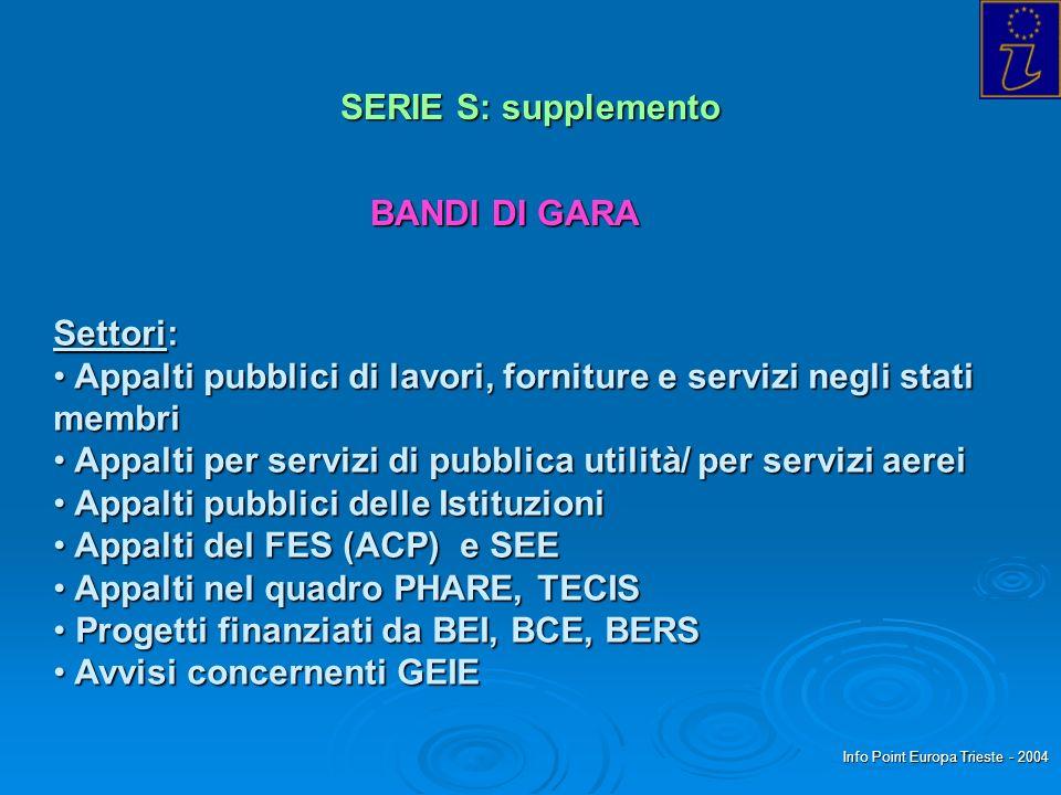 Info Point Europa Trieste - 2004 SERIE S: supplemento BANDI DI GARA Settori: Appalti pubblici di lavori, forniture e servizi negli stati membri Appalt