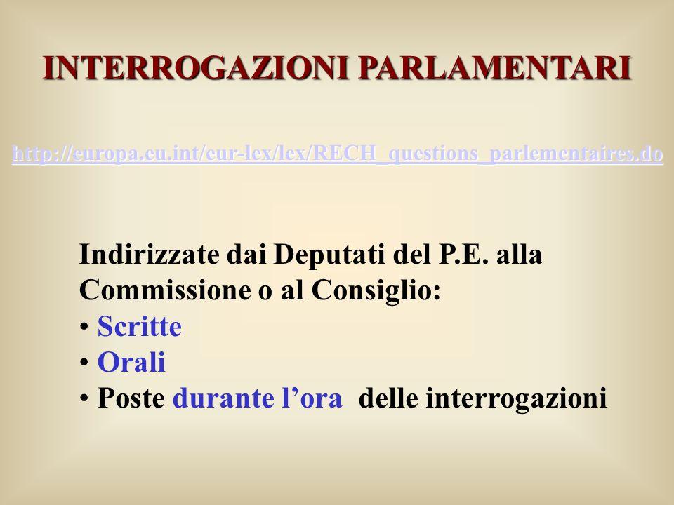 INTERROGAZIONI PARLAMENTARI http://europa.eu.int/eur-lex/lex/RECH_questions_parlementaires.do Indirizzate dai Deputati del P.E. alla Commissione o al