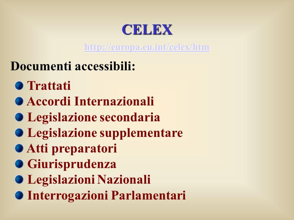 CELEX Documenti accessibili: Trattati Accordi Internazionali Legislazione secondaria Legislazione supplementare Atti preparatori Giurisprudenza Legisl