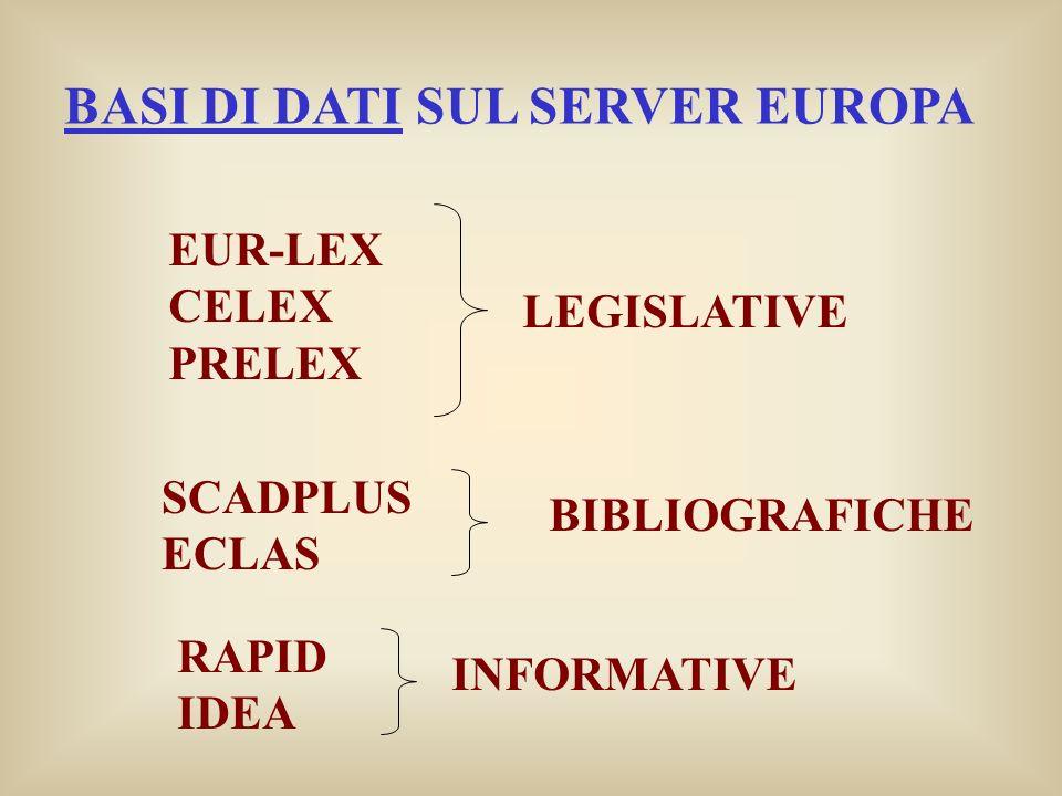 BASI DI DATI SUL SERVER EUROPA EUR-LEX CELEX PRELEX LEGISLATIVE SCADPLUS ECLAS BIBLIOGRAFICHE RAPID IDEA INFORMATIVE