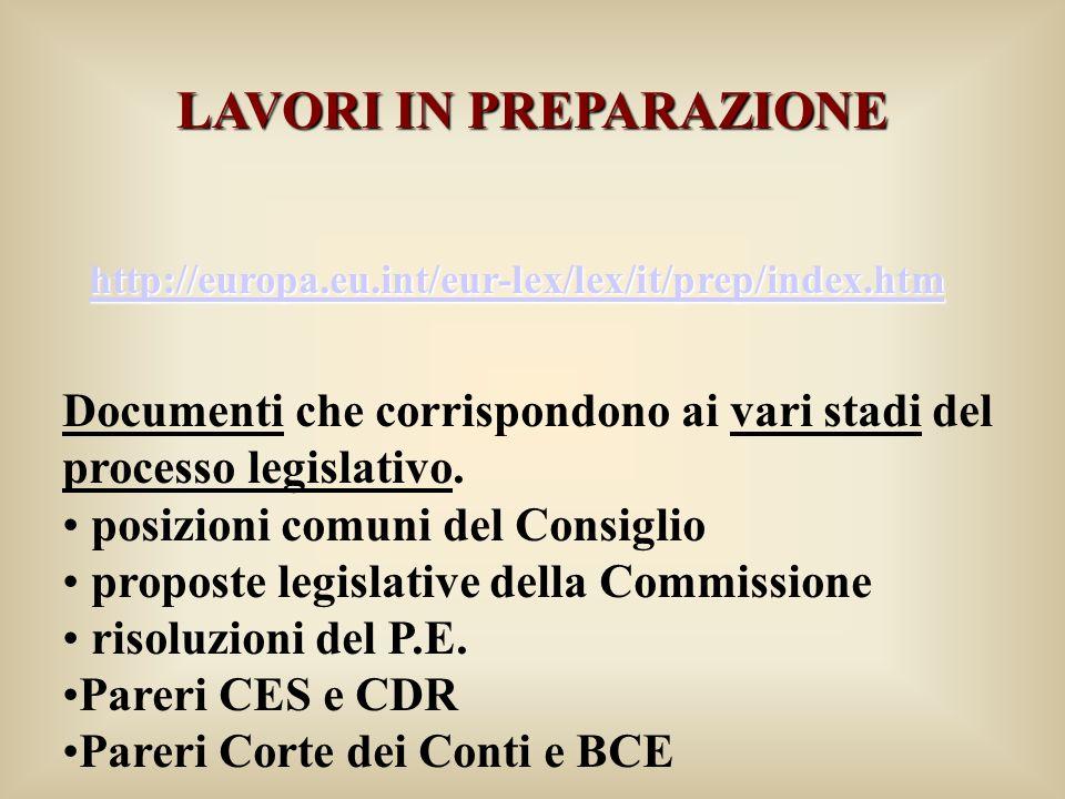 LAVORI IN PREPARAZIONE http://europa.eu.int/eur-lex/lex/it/prep/index.htm Documenti che corrispondono ai vari stadi del processo legislativo.