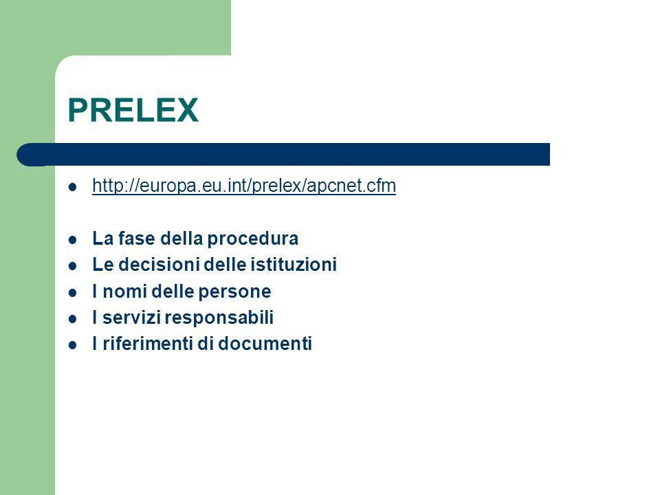 PRELEX http://europa.eu.int/prelex/apcnet.cfm La fase della procedura Le decisioni delle istituzioni I nomi delle persone I servizi responsabili I riferimenti di documenti