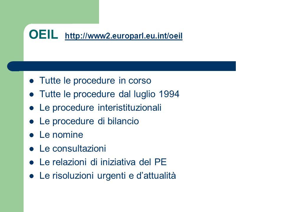 OEIL http://www2.europarl.eu.int/oeil http://www2.europarl.eu.int/oeil Tutte le procedure in corso Tutte le procedure dal luglio 1994 Le procedure int
