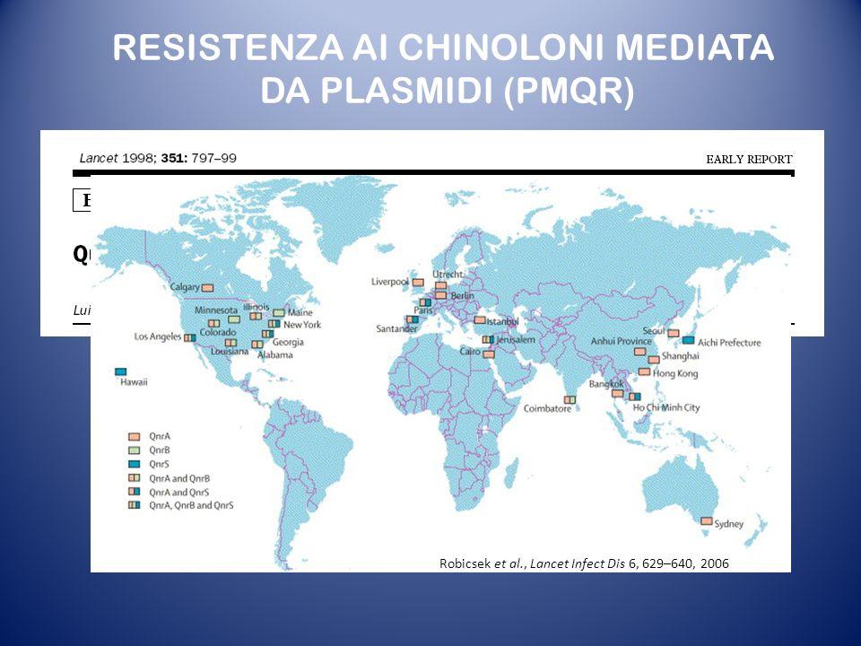 Robicsek et al., Lancet Infect Dis 6, 629–640, 2006 RESISTENZA AI CHINOLONI MEDIATA DA PLASMIDI (PMQR)
