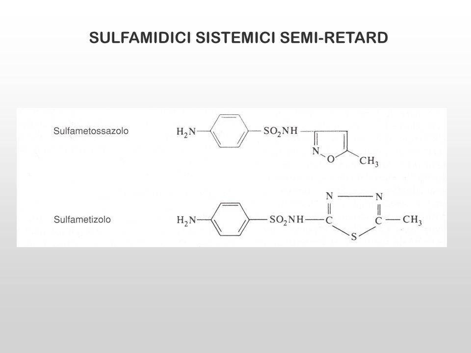 SULFAMIDICI ATTIVI NEL LUME INTESTINALE Sulfasalazina Sulfapiridina (responsabile di buona parte degli effetti collaterali) 5-ASA (acido 5-aminosalicilico o mesalamina; azione anti- infiammatoria La sulfasalazina è poco assorbita dallintestino.