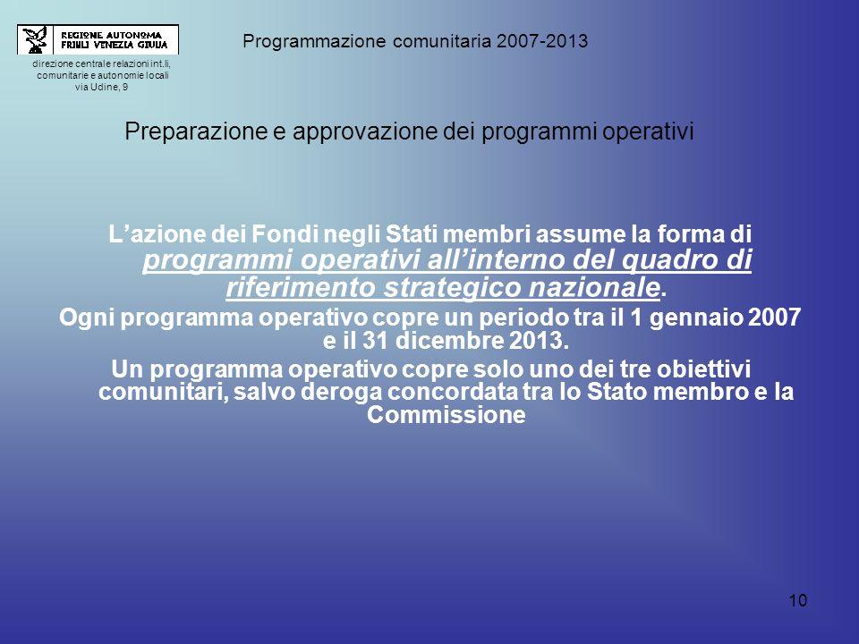 10 Lazione dei Fondi negli Stati membri assume la forma di programmi operativi allinterno del quadro di riferimento strategico nazionale.