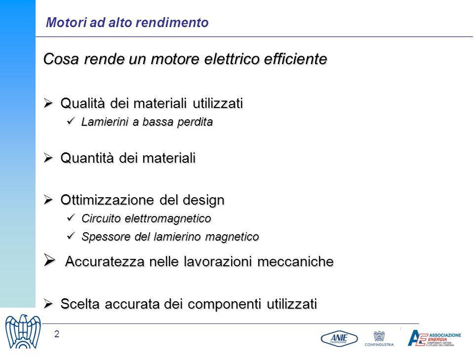 2 Motori ad alto rendimento Cosa rende un motore elettrico efficiente Qualità dei materiali utilizzati Qualità dei materiali utilizzati Lamierini a ba