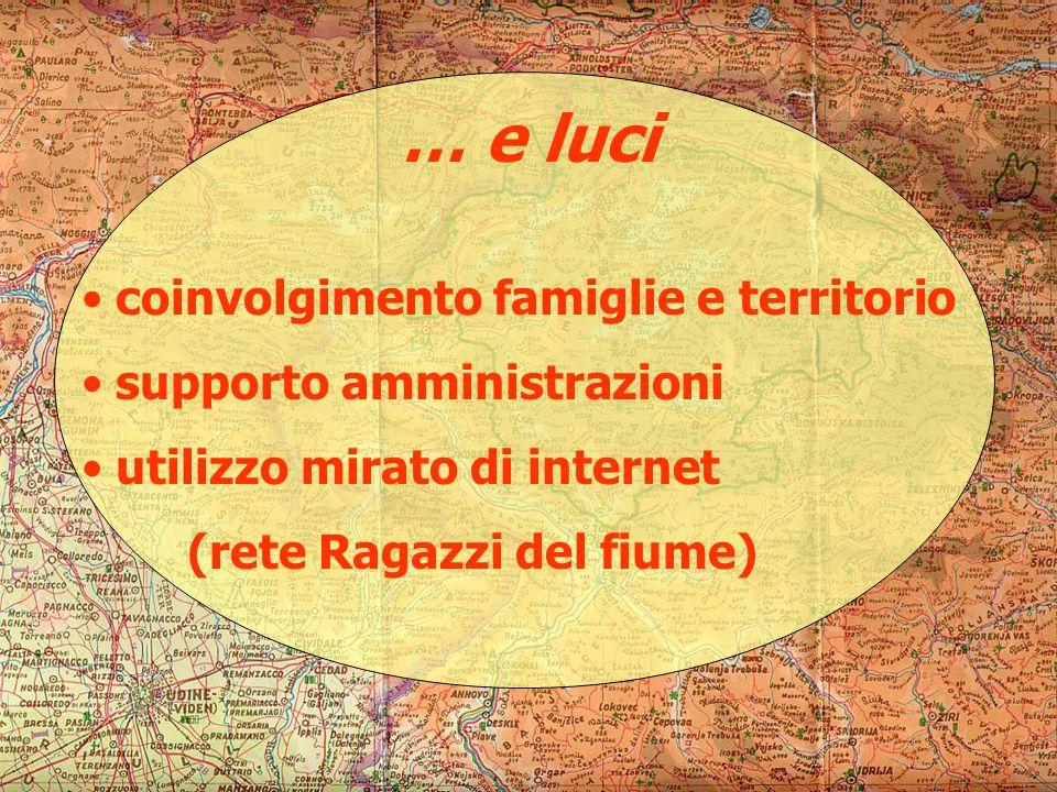 … e luci coinvolgimento famiglie e territorio supporto amministrazioni utilizzo mirato di internet (rete Ragazzi del fiume)