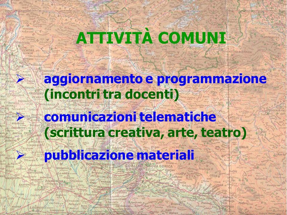 ATTIVITÀ COMUNI aggiornamento e programmazione (incontri tra docenti) comunicazioni telematiche (scrittura creativa, arte, teatro) pubblicazione materiali