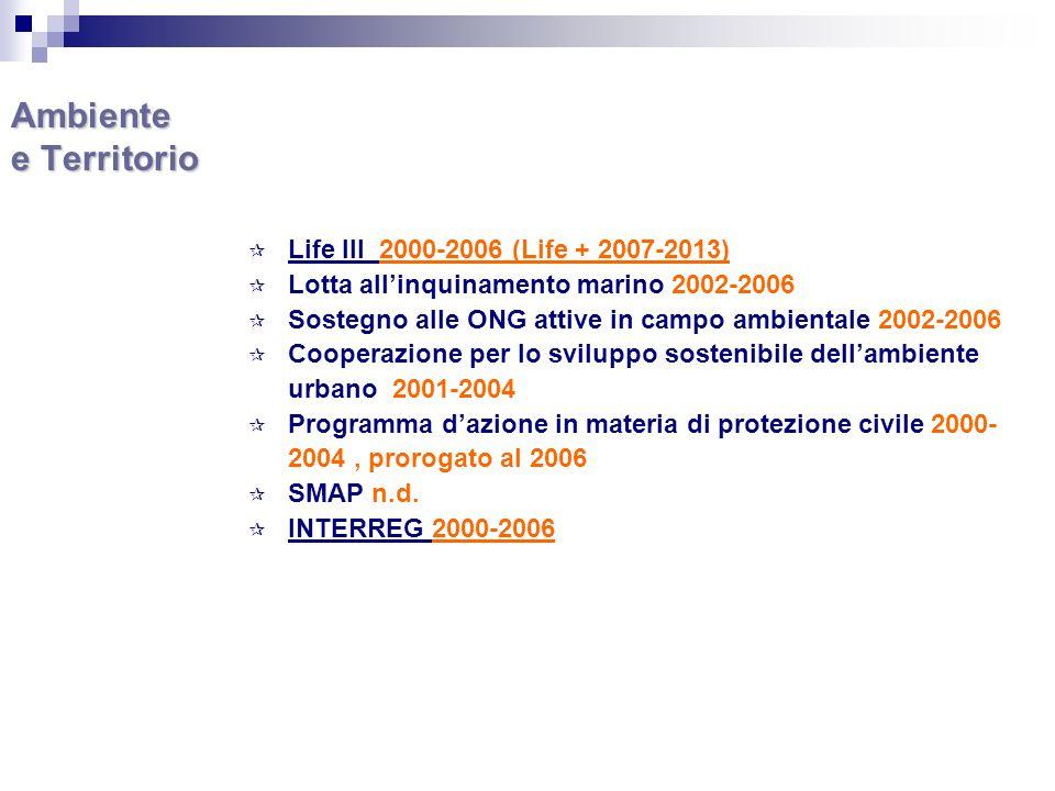 Ambiente e Territorio Life III 2000-2006 (Life + 2007-2013) Lotta allinquinamento marino 2002-2006 Sostegno alle ONG attive in campo ambientale 2002-2006 Cooperazione per lo sviluppo sostenibile dellambiente urbano 2001-2004 Programma dazione in materia di protezione civile 2000- 2004, prorogato al 2006 SMAP n.d.