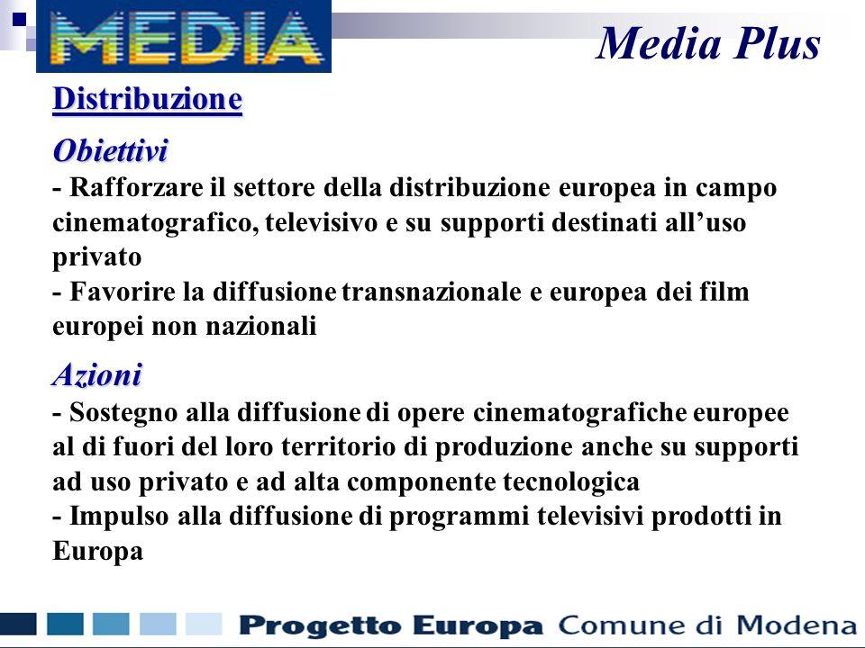 DistribuzioneObiettivi - Rafforzare il settore della distribuzione europea in campo cinematografico, televisivo e su supporti destinati alluso privato - Favorire la diffusione transnazionale e europea dei film europei non nazionaliAzioni - Sostegno alla diffusione di opere cinematografiche europee al di fuori del loro territorio di produzione anche su supporti ad uso privato e ad alta componente tecnologica - Impulso alla diffusione di programmi televisivi prodotti in Europa