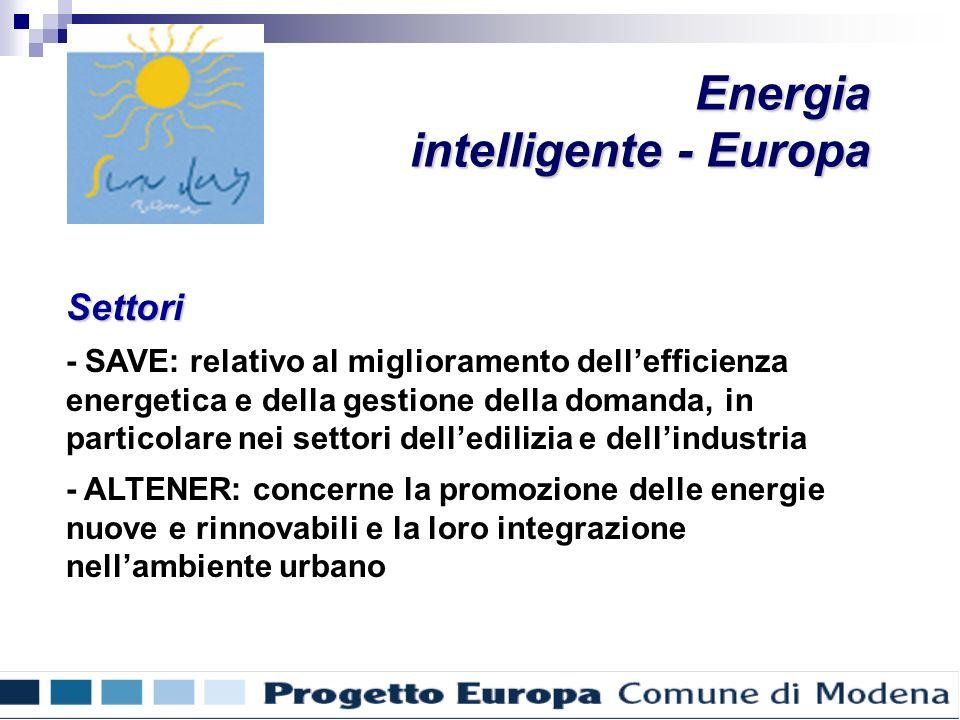 Settori - SAVE: relativo al miglioramento dellefficienza energetica e della gestione della domanda, in particolare nei settori delledilizia e dellindustria - ALTENER: concerne la promozione delle energie nuove e rinnovabili e la loro integrazione nellambiente urbano Energia intelligente - Europa