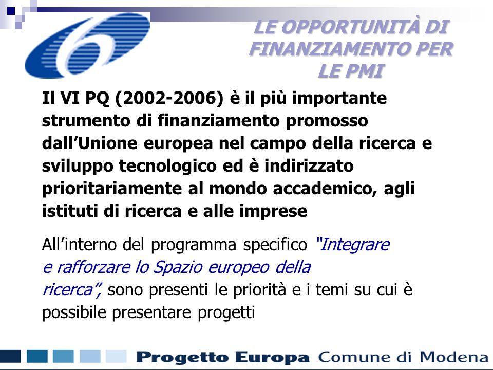Finanziamenti comunitari per gli enti locali Il VI PQ (2002-2006) è il più importante strumento di finanziamento promosso dallUnione europea nel campo della ricerca e sviluppo tecnologico ed è indirizzato prioritariamente al mondo accademico, agli istituti di ricerca e alle imprese Allinterno del programma specifico Integrare e rafforzare lo Spazio europeo della ricerca, sono presenti le priorità e i temi su cui è possibile presentare progetti LE OPPORTUNITÀ DI FINANZIAMENTO PER LE PMI