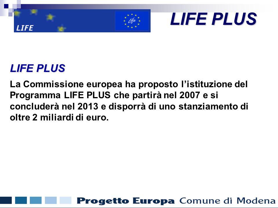 Finanziamenti comunitari per gli enti locali LIFE PLUS La Commissione europea ha proposto listituzione del Programma LIFE PLUS che partirà nel 2007 e si concluderà nel 2013 e disporrà di uno stanziamento di oltre 2 miliardi di euro.