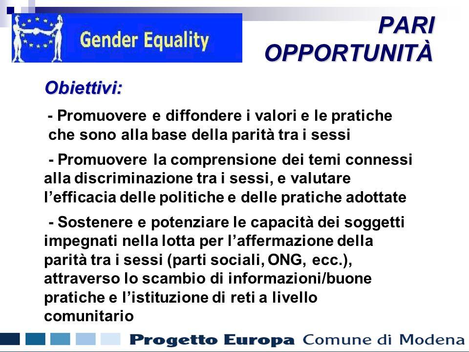 Misure a favore delle donne PARIOPPORTUNITÀObiettivi: - Promuovere e diffondere i valori e le pratiche che sono alla base della parità tra i sessi - Promuovere la comprensione dei temi connessi alla discriminazione tra i sessi, e valutare lefficacia delle politiche e delle pratiche adottate - Sostenere e potenziare le capacità dei soggetti impegnati nella lotta per laffermazione della parità tra i sessi (parti sociali, ONG, ecc.), attraverso lo scambio di informazioni/buone pratiche e listituzione di reti a livello comunitario Misure a favore delle donne