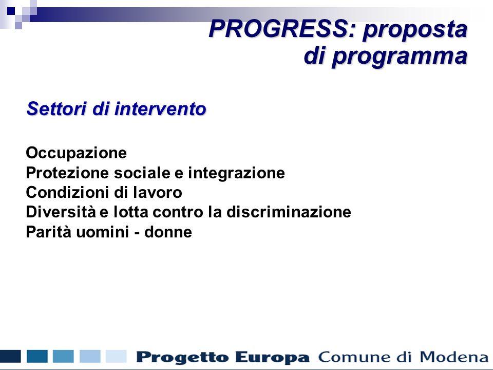Settori di intervento Occupazione Protezione sociale e integrazione Condizioni di lavoro Diversità e lotta contro la discriminazione Parità uomini - donne