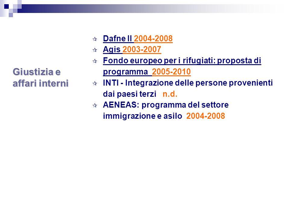 Giustizia e affari interni Dafne II 2004-2008 Agis 2003-2007 Fondo europeo per i rifugiati: proposta di programma 2005-2010 INTI - Integrazione delle persone provenienti dai paesi terzi n.d.