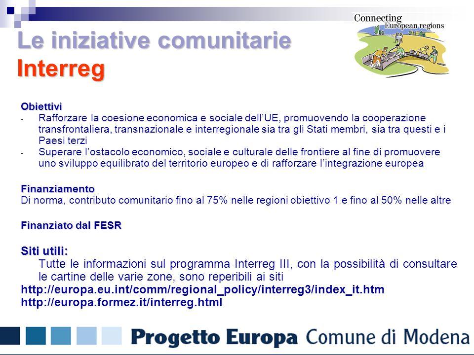 Le iniziative comunitarie Interreg Obiettivi - Rafforzare la coesione economica e sociale dellUE, promuovendo la cooperazione transfrontaliera, transnazionale e interregionale sia tra gli Stati membri, sia tra questi e i Paesi terzi - Superare lostacolo economico, sociale e culturale delle frontiere al fine di promuovere uno sviluppo equilibrato del territorio europeo e di rafforzare lintegrazione europeaFinanziamento Di norma, contributo comunitario fino al 75% nelle regioni obiettivo 1 e fino al 50% nelle altre Finanziato dal FESR Siti utili: Tutte le informazioni sul programma Interreg III, con la possibilità di consultare le cartine delle varie zone, sono reperibili ai siti http://europa.eu.int/comm/regional_policy/interreg3/index_it.htm http://europa.formez.it/interreg.html