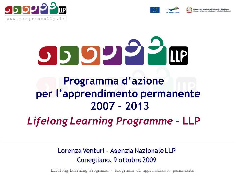 Programma dazione per lapprendimento permanente 2007 - 2013 Lifelong Learning Programme - LLP Lorenza Venturi - Agenzia Nazionale LLP Conegliano, 9 ottobre 2009